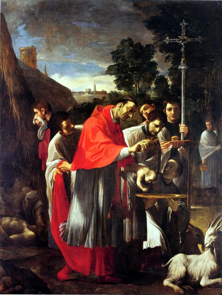 San Carlo Borromeo battezza un bambino durante la peste di Milano.