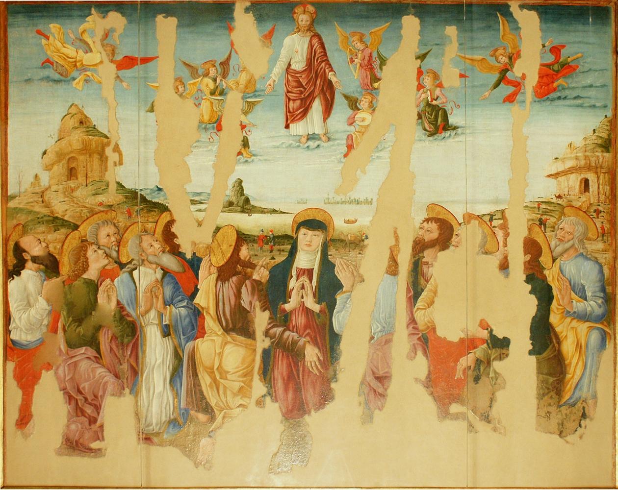 Maestro dagli occhi spalancati (scuola ferrarese di Cosmé Tura), Ascensione, metà XV secolo, olio su tela.
